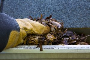 cleaning gutters of debris