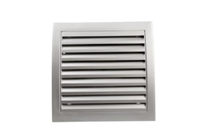 Square bathroom exhaust ventilation fan on white background isolated with clipping path. Plastic with shine silver like finishing.