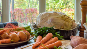 turkey with herbs on counter
